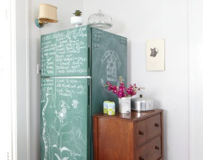 Teal Colored Chalkboard Paint On Refrigerator With A