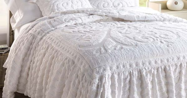 Flourish Skirted Chenille Bedspread Delicate Dainty And