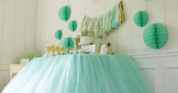 Tulle table skirt for a birthday party! In love!