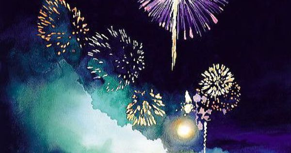 how to draw fireworks with watercolor
