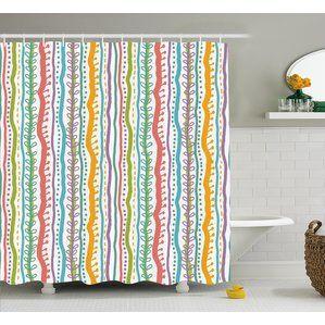 Santos Vertical Swirl Lines Shower Curtain Shower Curtain Hooks