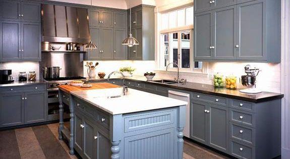 Kitchens Gray Blue Shaker Kitchen Cabinets Black Granite