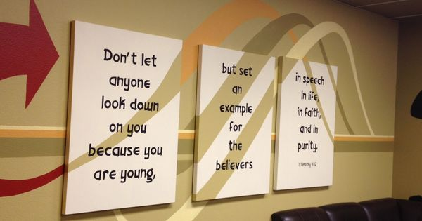 Cool idea for teen youth group room wall