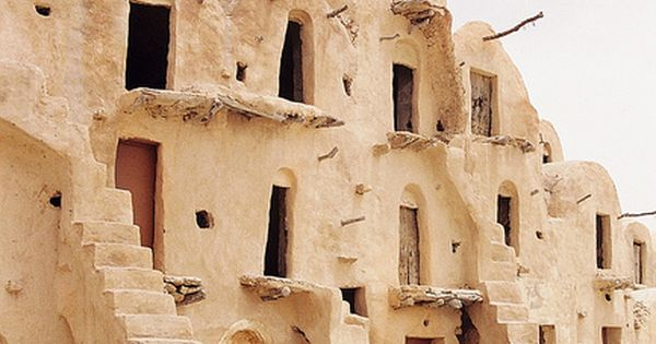 Tataouine, Tunisia - abandoned settlements feature vaulted adobe buildings, or ghorfas.