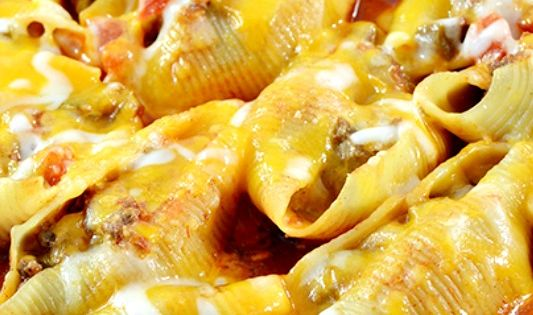 Mexican Stuffed Shells Recipe ~ filled with a ground beef and cream