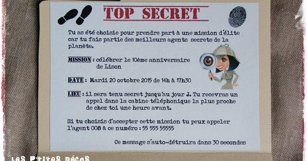 invitation anniversaire agent secret carte popup pinterest anniversaires espion et enqu te. Black Bedroom Furniture Sets. Home Design Ideas