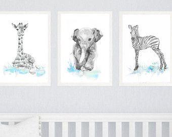 Neutral Kinderzimmer Dekor Set Aus 3 Drucken Tiere Kinderzimmer