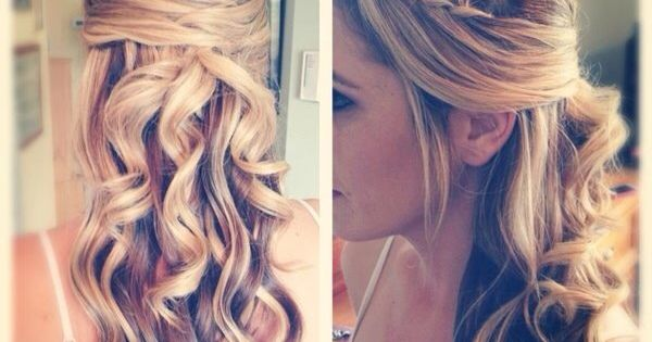 Wedding hair half up, long curled. Wedding hairstyle ideas from http://www.pawarinc.com