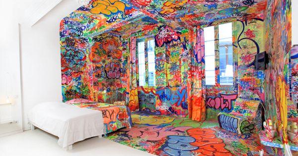 Street artist Tilt turns half a marseillais hotel room into a den