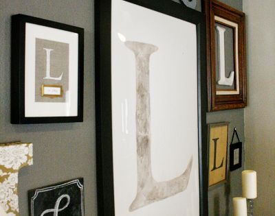 monogram wall. I like this idea....but maybe not framed. Paint wooden letters