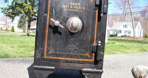 Antique 1908 J Baum Floor Safe W Wheels 3 Locking Doors 600 Lbs Antique Safe Floor Safe Safe Lock