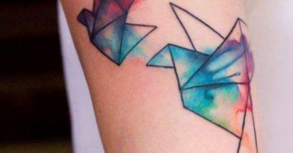 watercolor oragami birds tattoo watercolor WatercolorTattoo