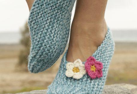 Drops Slippers In Garter St Worked Sideways With Crochet