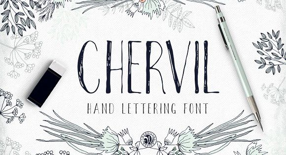 Chervil – hand lettering font. Ideal for invitations, logos, branding, blogs, handmade craft items, scrap booking