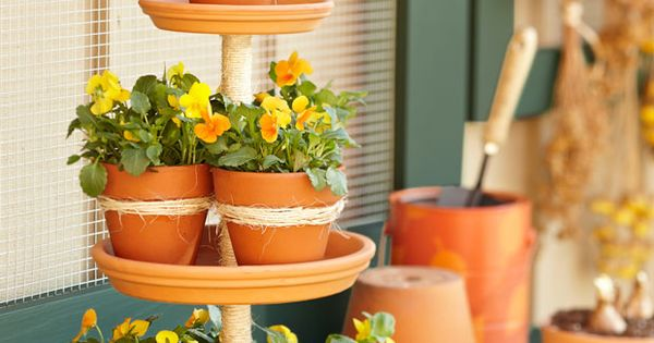 terra cotta potted plant tower