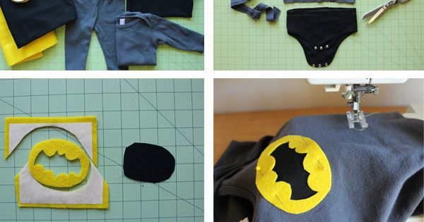 DIY Baby Batman Halloween Costume- could be used for any super hero
