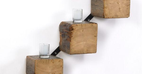 Beam Shelves Reclaimed Wood and Farm Metal. $205.00, via Etsy. Cool idea.