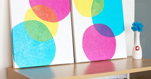 DIY tissue paper wall art wallart