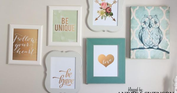 Wall art in a Fun Tween Bedroom for a girl Great colors