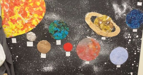 Solar system. Each planet different technique. Sun collage ...