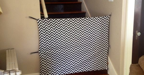 diy fabric baby gate cost around 30 total and it looks sooo much better than a big chunky. Black Bedroom Furniture Sets. Home Design Ideas