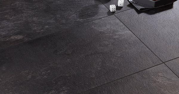 Harmonia Black Slate Tile Effect Laminate Flooring 2 05 M 178 Pack Departments Diy At B Amp Q