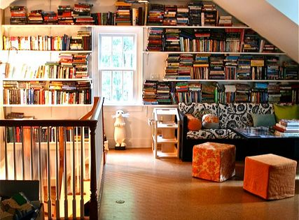Attic library - modern house design living room design home design ideas