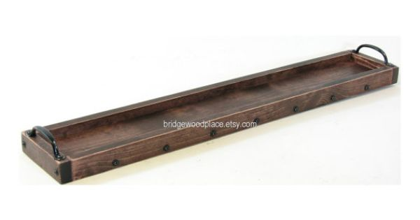 Wood candle tray long wooden table centerpiece by for Long rectangular candle tray