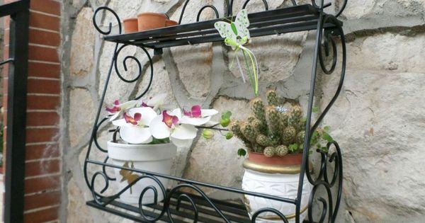 Porta piante vaso vasetti fioriera in ferro battuto parete - Portaspezie da parete ...