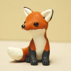 Making Simple Animals From Polymer Clay Adorable Fox Sculpture By Rainabedaina On Etsy It S Alread Polymer