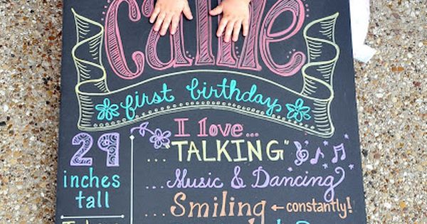 BEST TIP EVER!!!! Use foam board and metallic sharpies for a more perfect - yet chalk like look. Looks like chalk board but won't get smudged. Super cute idea for first birthday