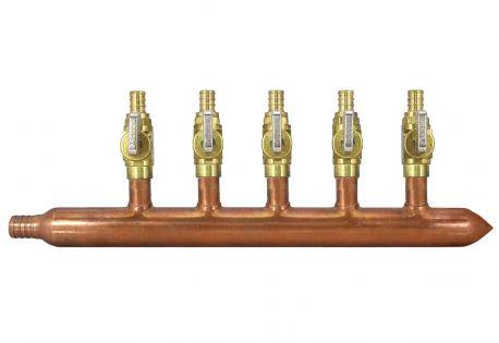 5 Port Copper Manifold With 1 2 Pex Valves 3 4 Pex X Closed Pex Plumbing Plumbing Hydronic Radiant Floor Heating