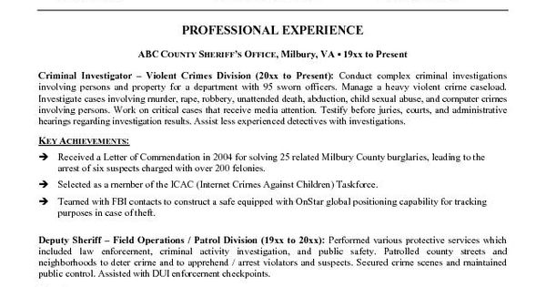 law enforcement resume template
