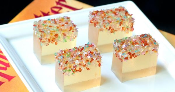 Champagne Jello shots with Pop Rocks jelloshot jshot champagne marriottmwest wedding shot