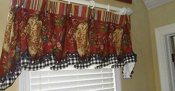 Provence French Country Valance Curtain Waverly Red Gold Toile Black Check Trim French Country Curtains French Country Bedrooms Red Curtains