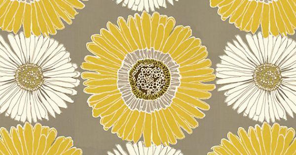 Yellow & Grey Giant Daisy Cotton Sateen Fabric | Drive Me ...