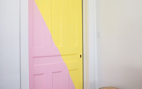 Yellow + pink color blocked pocket door by Toronto artist Amanda Happe.