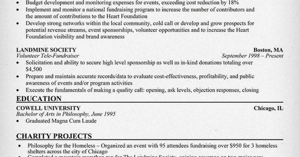 fundraiser resume resume sles across all industries