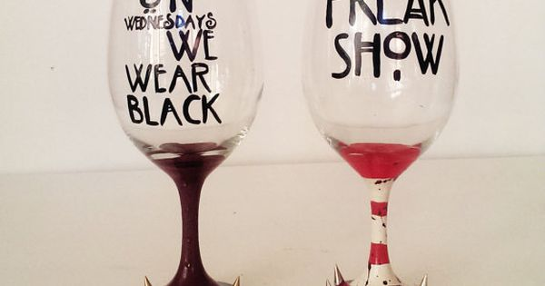 AHS wine glass set - on wednesday we wear black - FREAK