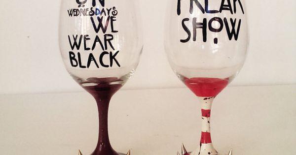 AHS wine glass set - on wednesday we wear black - FREAK