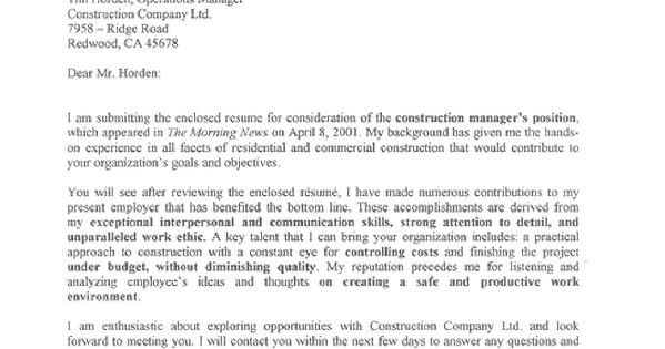 This construction manager cover letter sample does a great for Cover letters for construction jobs