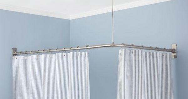 Shower Curtain Rods Signature Hardware Corner Shower Curtain