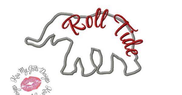 elephant silhouette roll tide machine embroidery applique design