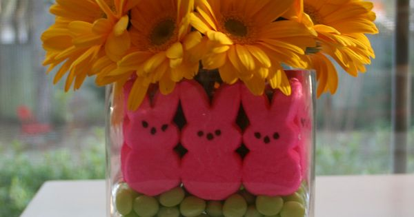 Floral Centerpiece Using Peeps And Jelly Beans