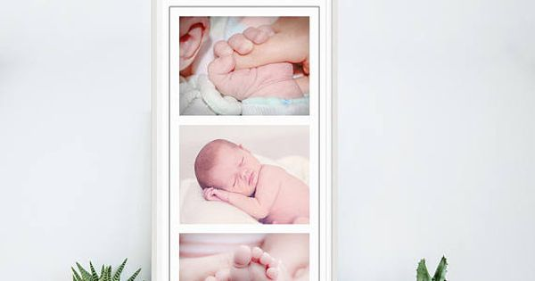 Storyboard Template - 10x20, 3 Images, Photoshop Collage Template - vertical storyboard