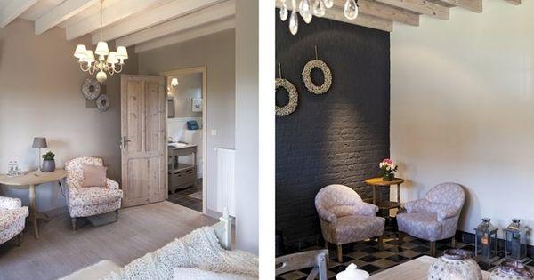 Living met natuurlijke materialen en donkere bakstenen muur landelijk pinterest met - Bakstenen muur woonkamer ...