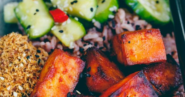 Vegan Gochujang Tofu Pickled Cucumber Bowl food recipes, world food