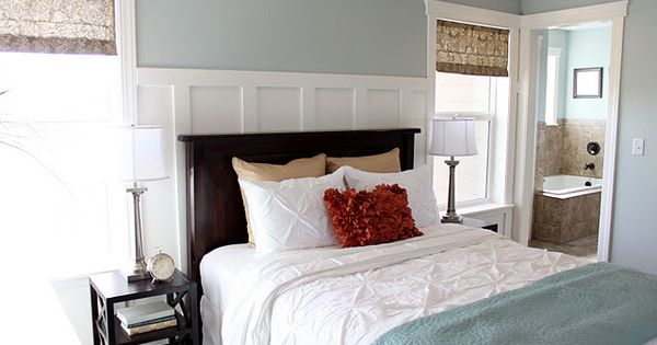 Love this color scheme // Master bedroom color and wall behind bed...also