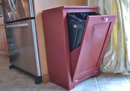 DIY tilt out trash can for the kitchen/ dog food.
