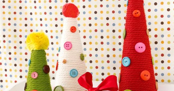 Yarn and Button Topiaries: kids craft